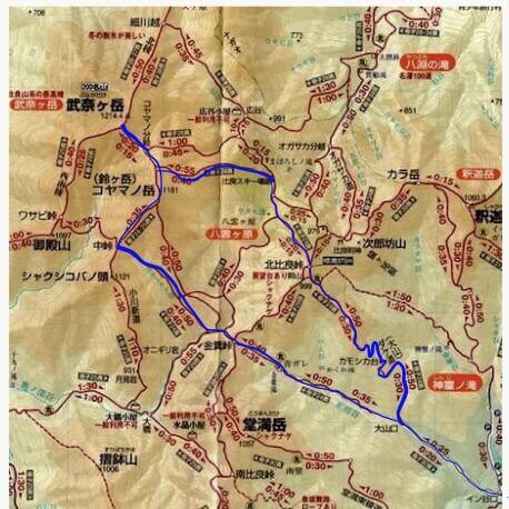 武奈ヶ岳登山で使用したルート。