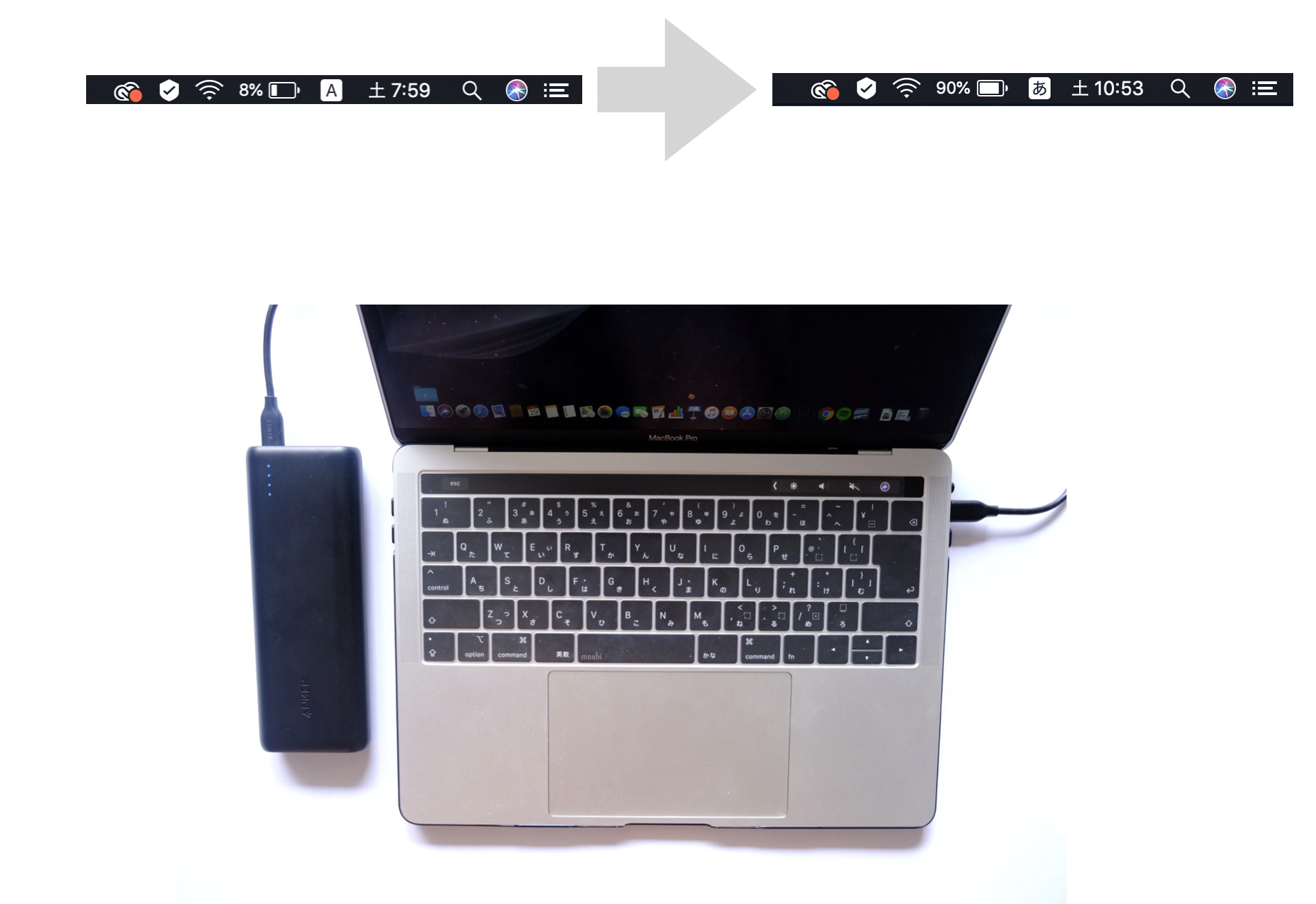 Anker PowerCore Speed 20000 PDでMacBook Proを充電