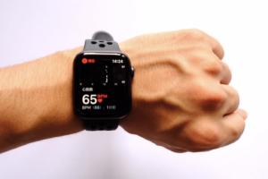 AppleWatch Series4(GPSモデル)で1分間の拍動の数(bpm、beats per minute)が確認できる画像