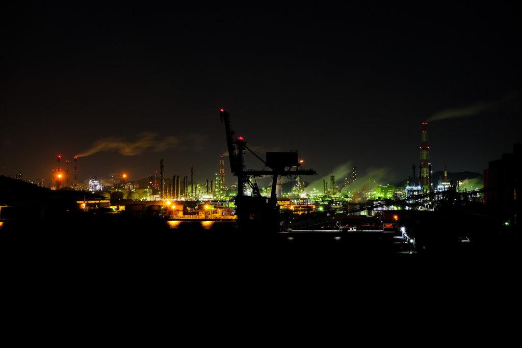 X-T30で撮影した岡山の水島工業地帯の夜の写真